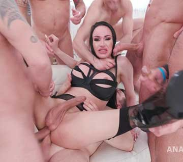 TS Kimberlee 6on1 Double Anal Gangbang with Creampie and Swallow (2020) HD 720p