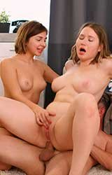 Mia Richi, Amalia Davis - Busty teens share lucky stud (2021) HD 2160p 4K